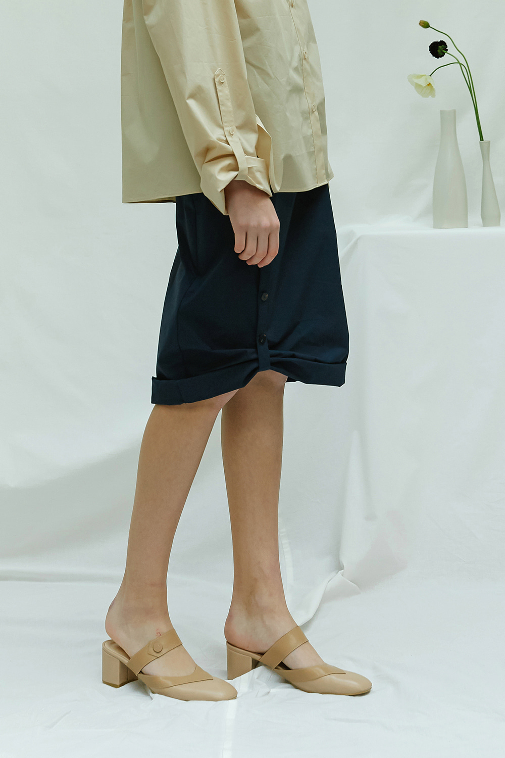 [season off -50%] SS17 ROLL-UP COTTON SKIRT