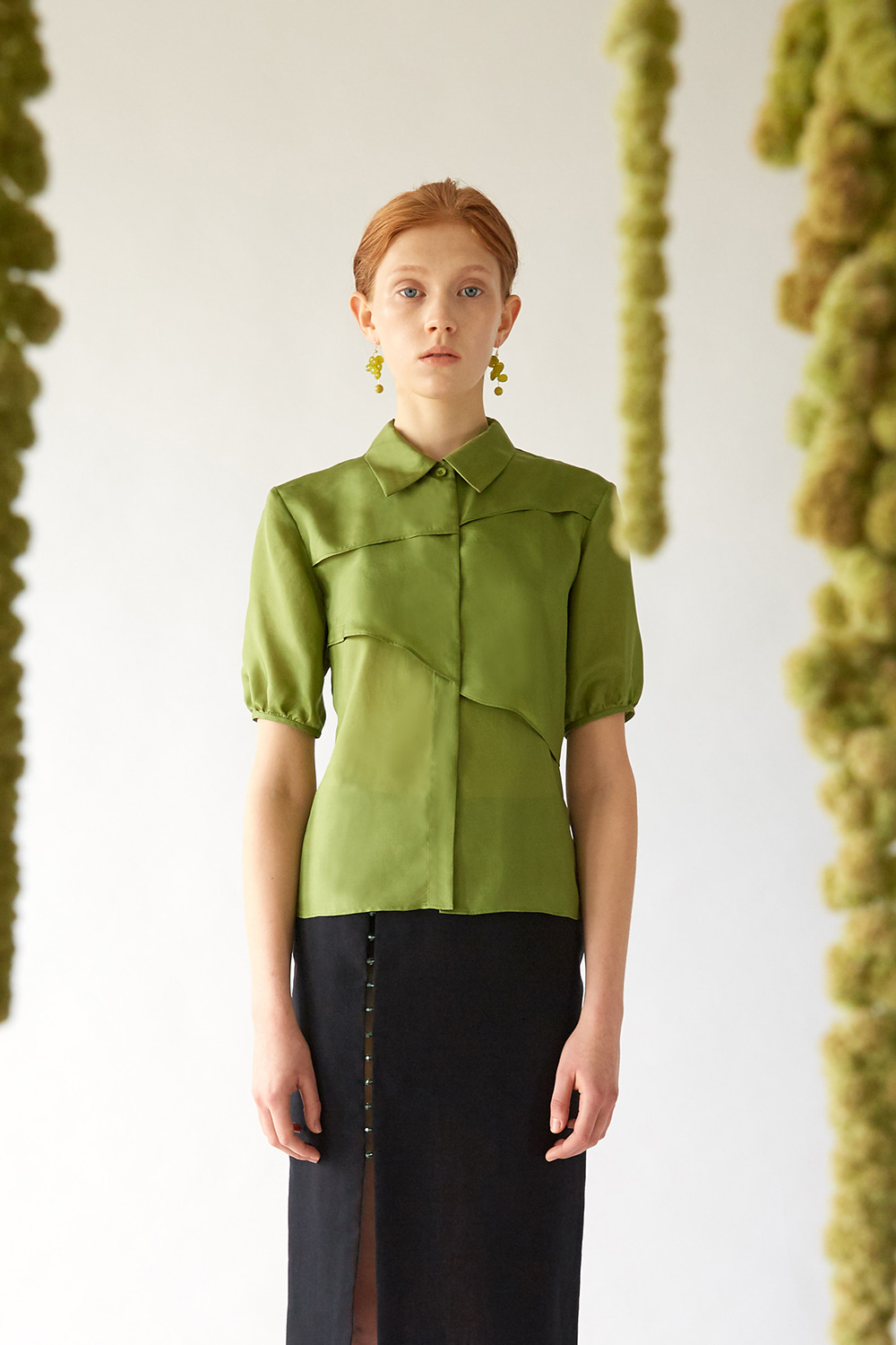 SS19 GREEN SILK LAYER SHIRT