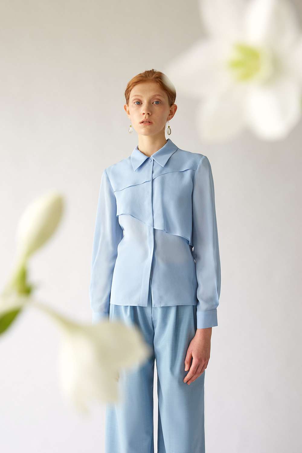 SS19 SKYBLUE SILK LAYER SHIRT