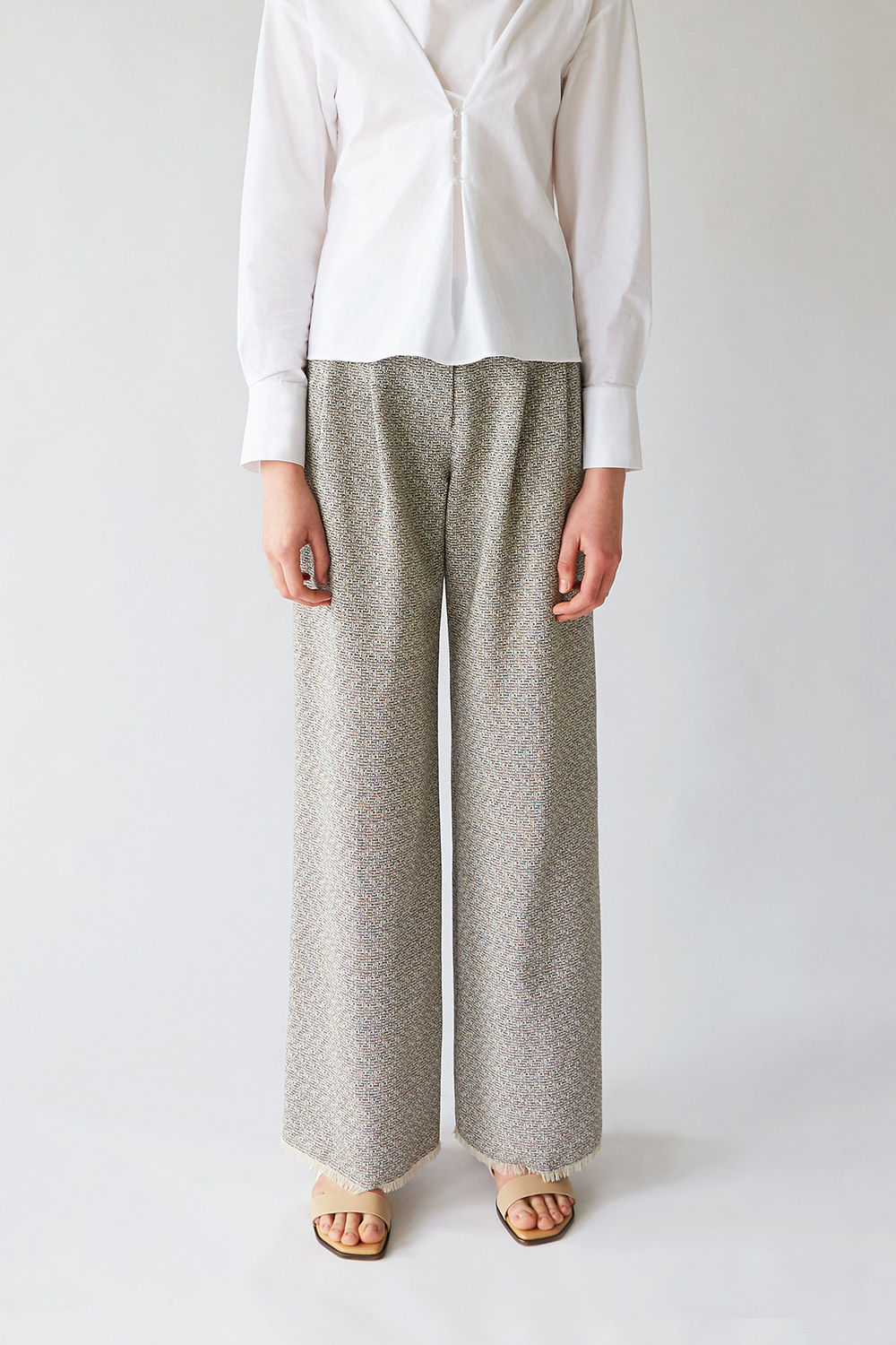 SS19 TEXTURED WOOL WIDE TROUSERS (BLACK)