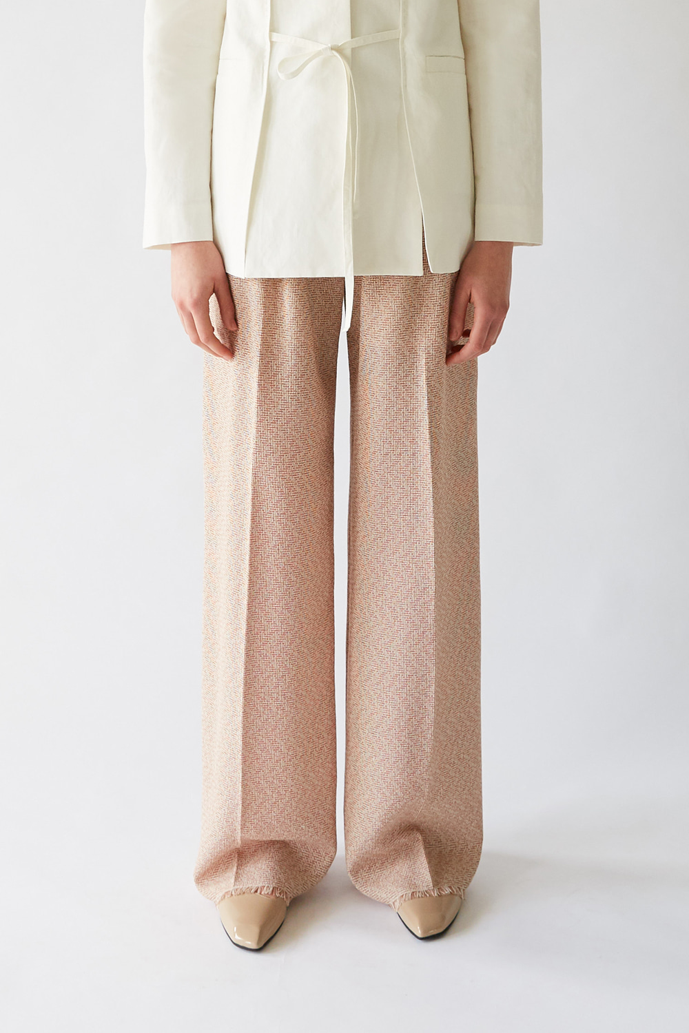 SS19 TEXTURED WOOL WIDE TROUSERS (BRICK)
