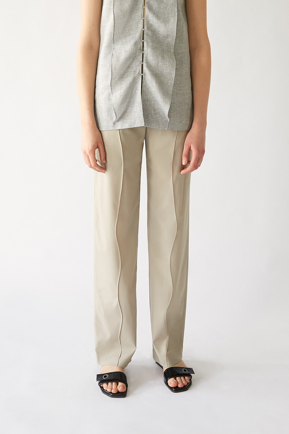 [주문제작] SS19 WAVY PIN-TUCK WOOL TROUSERS