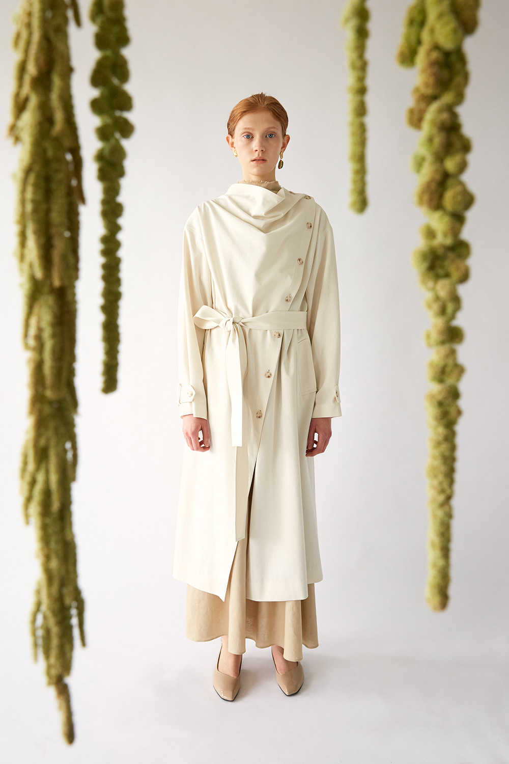 SS19 COWL NECK COTTON TRENCH (IVORY)