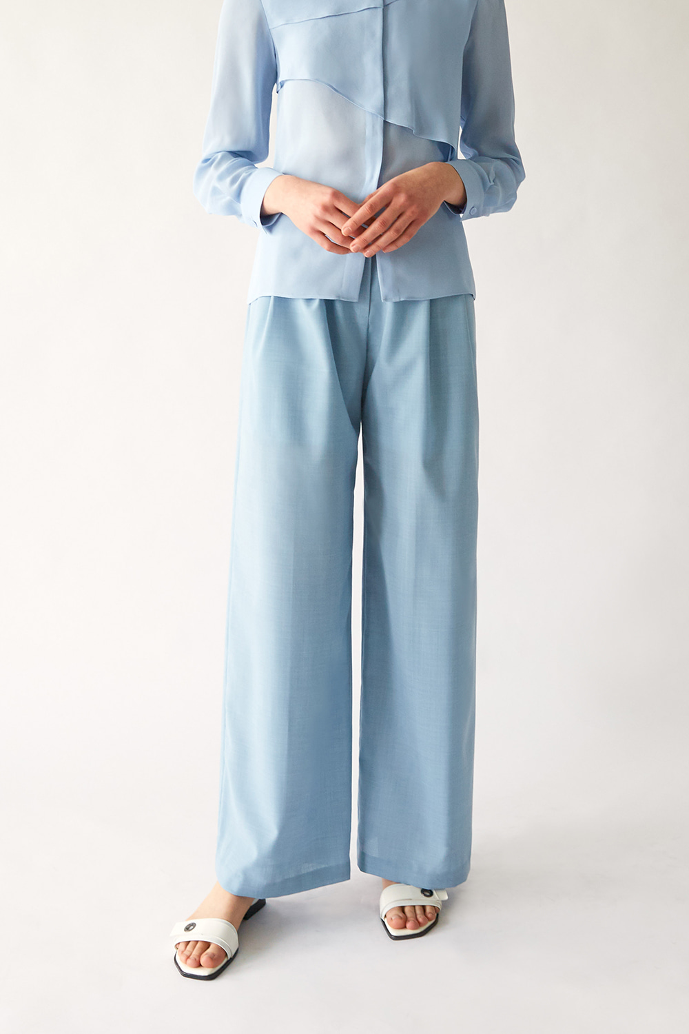 [주문제작] SS19 SKYBLUE WOOL WIDE TROUSERS