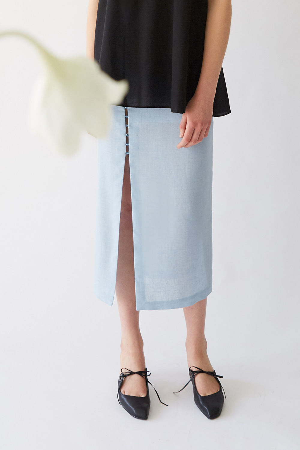 SS19 BEADED SLIT LONG SKIRT