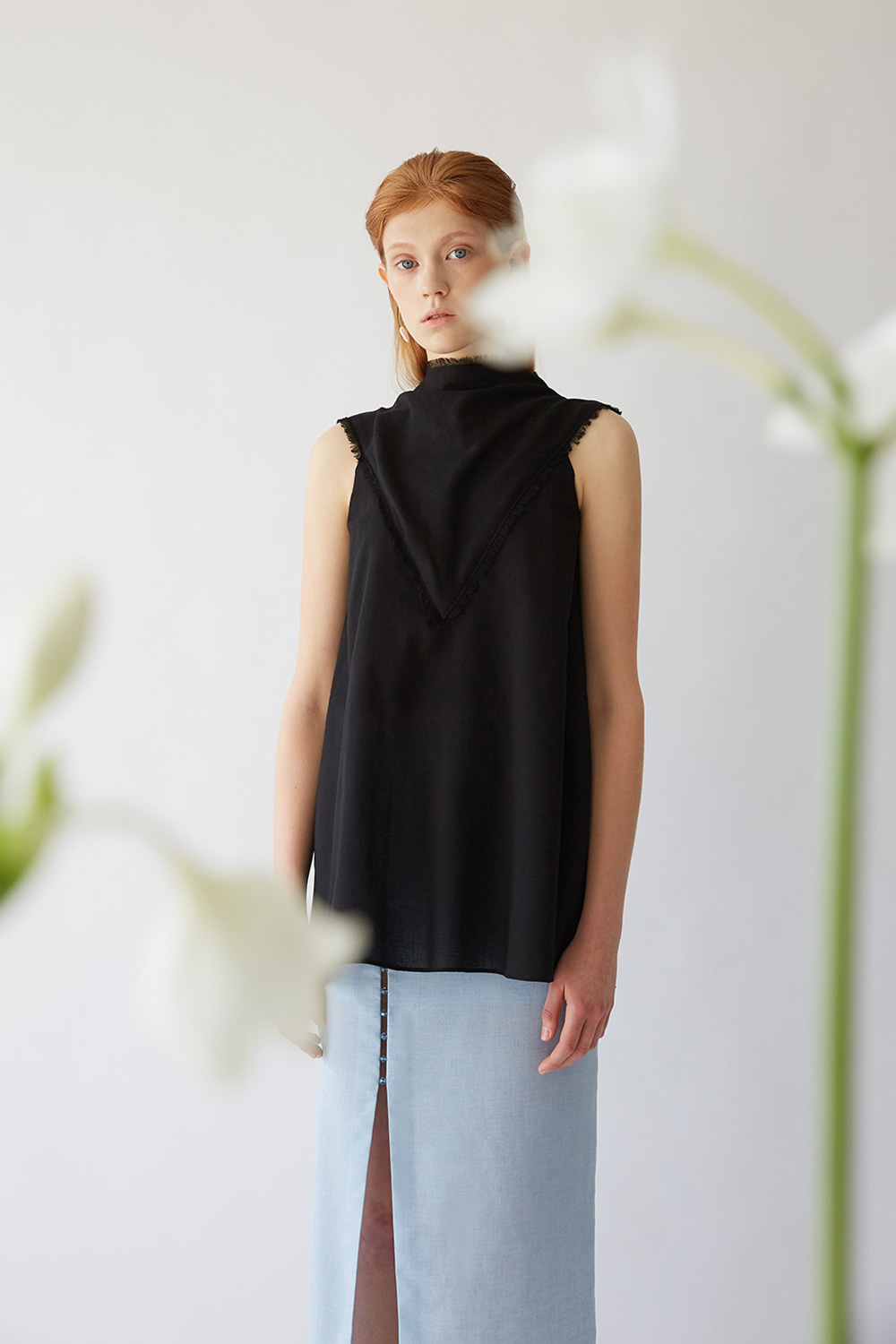 SS19 COWL FRAY LONG SLEEVELESS