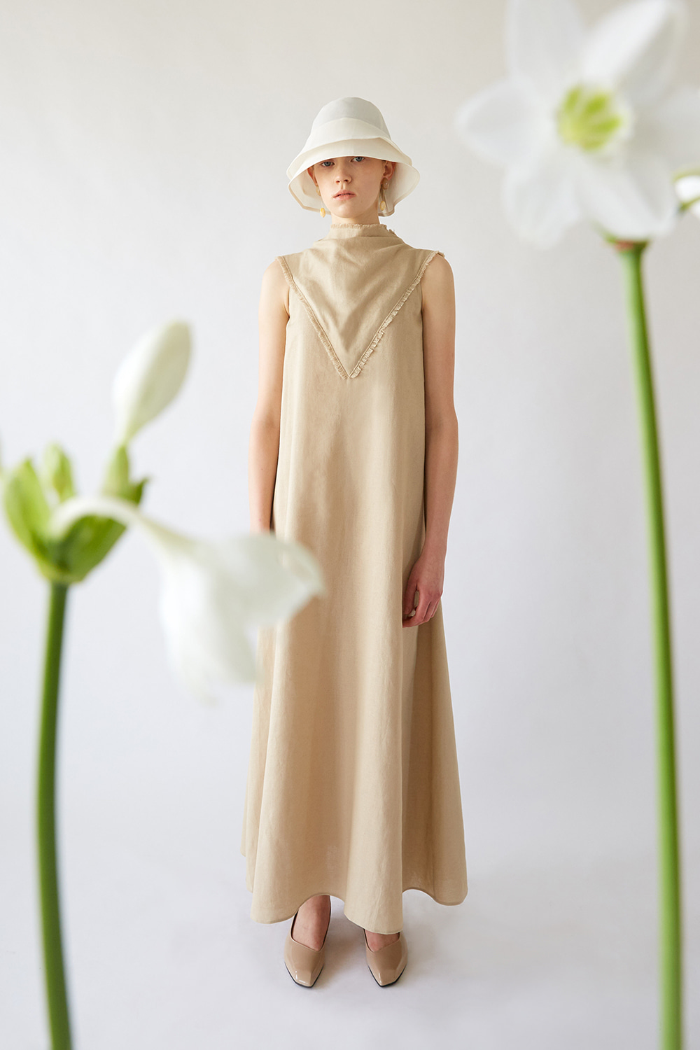 SS19 COWL FRAY LINEN DRESS