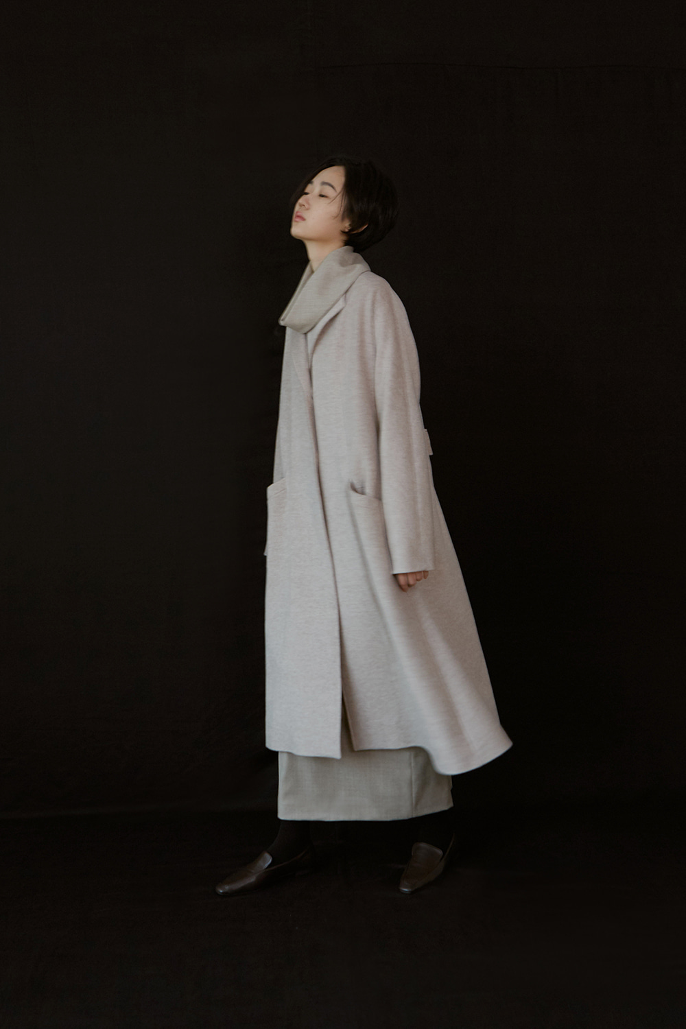 [주문제작] AW19 WING COLLAR A-LINE COAT (OATMEAL)
