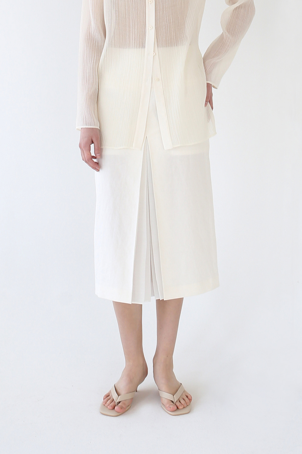 20SS SHEER PLEATED LINEN SKIRT (IVORY)