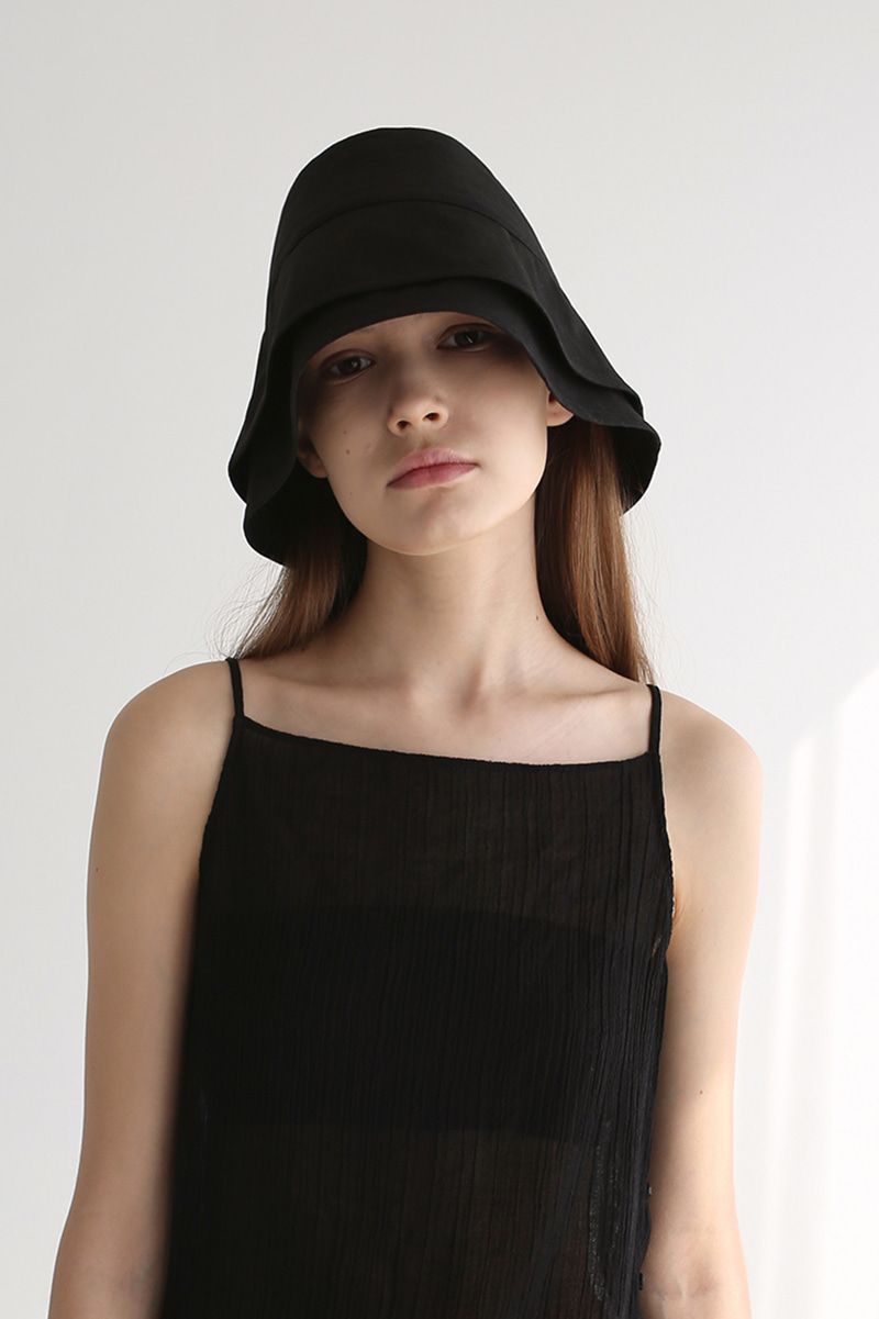 20SS LAYERED LINEN BUCKET HAT (BLACK)