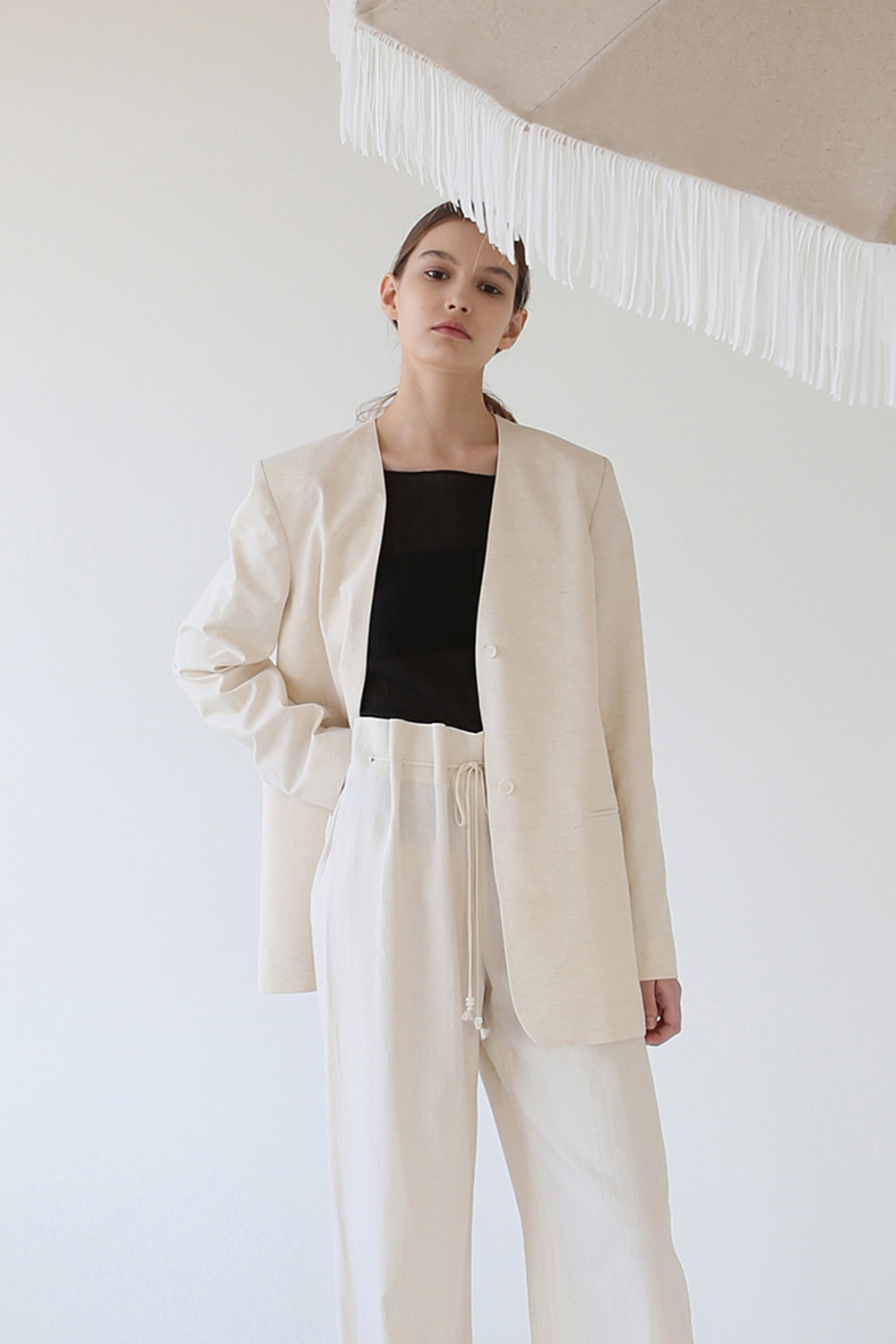 2-way Sailor Linen Jacket (natural beige)