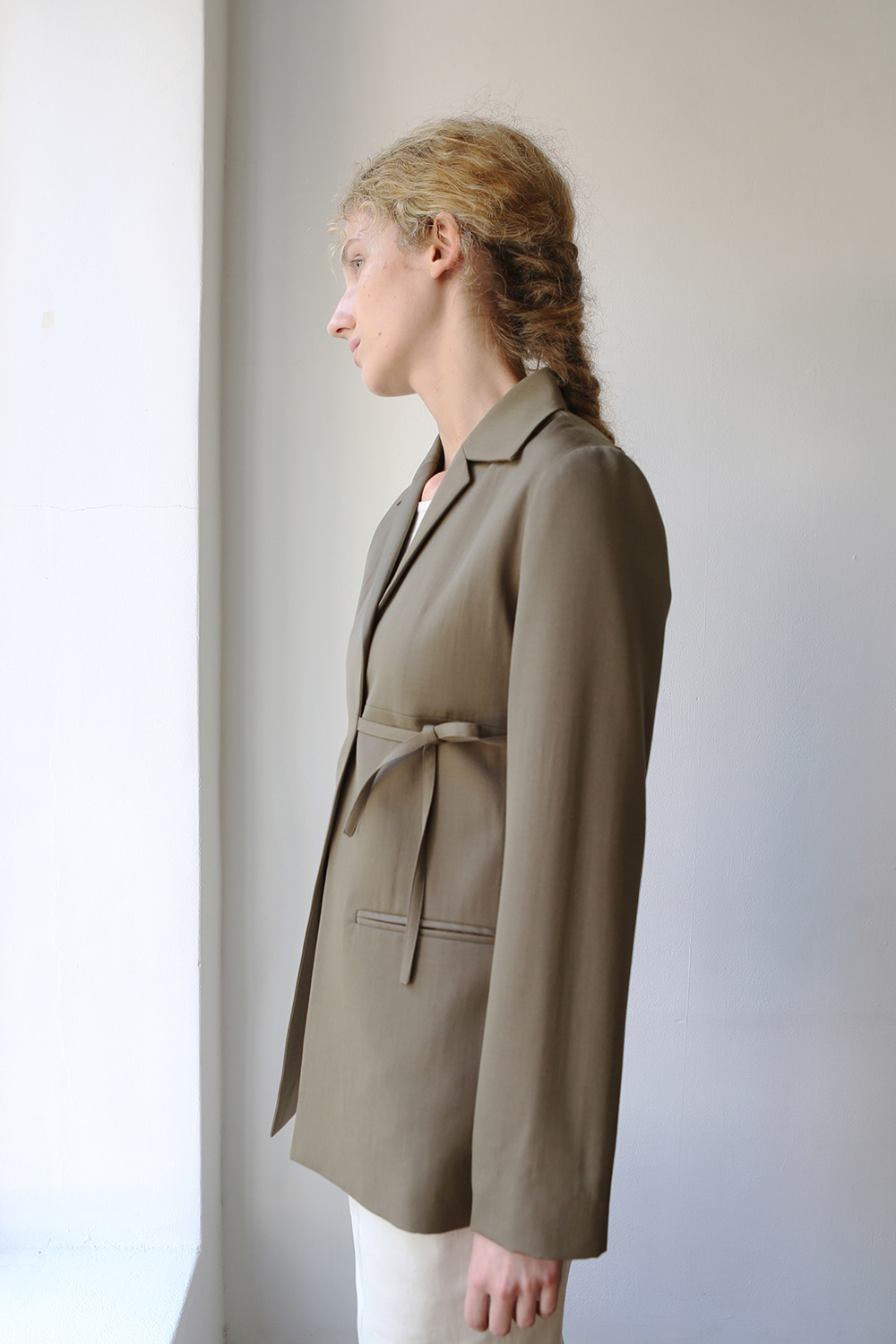 Agnes Wrap Wool Jacket (khaki brown)